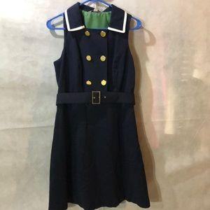 Navy blue, sleeveless dress with belt